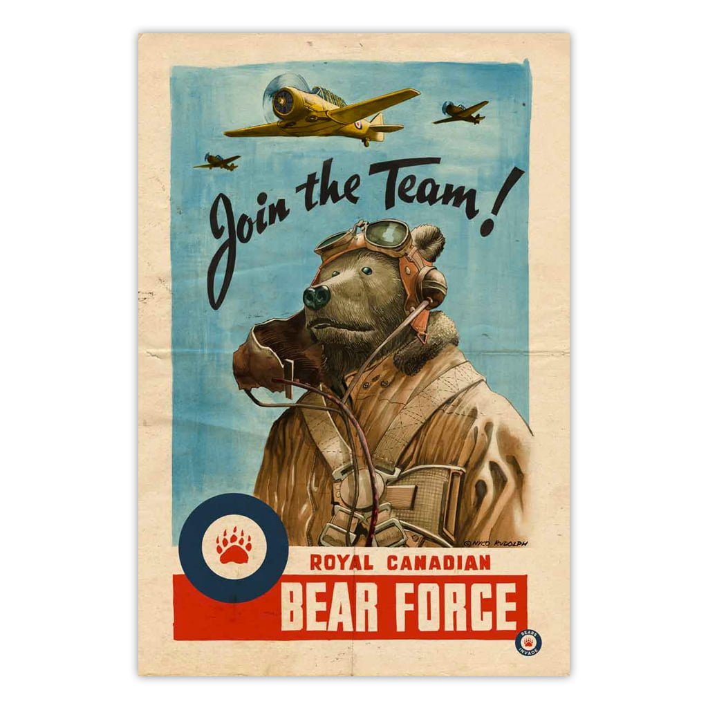 bears-invade-royal-canadian-bear-force-vintage-ad-print