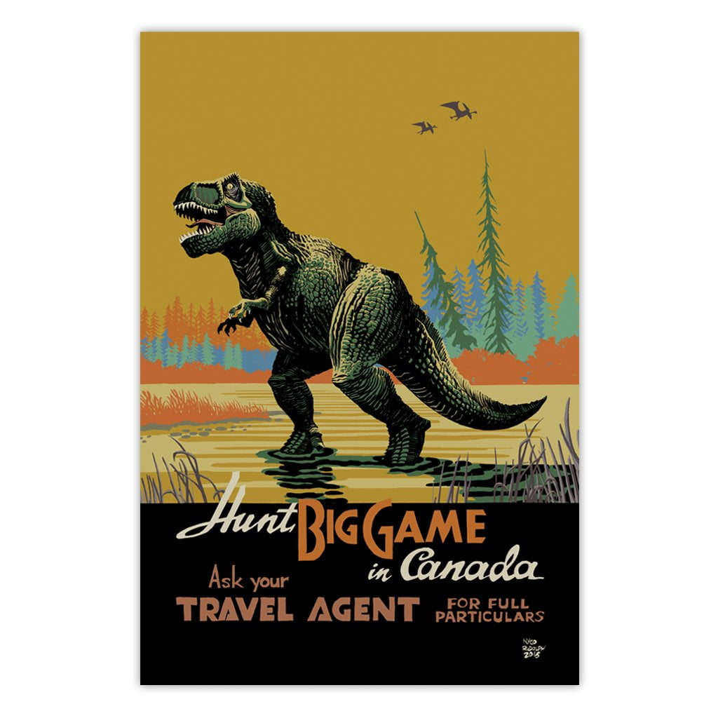 hunt-big-game-canada-retro-dinosaur-travel-poster